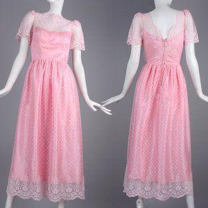 S Vintage 60s Lace over Taffeta Cocktail Dress